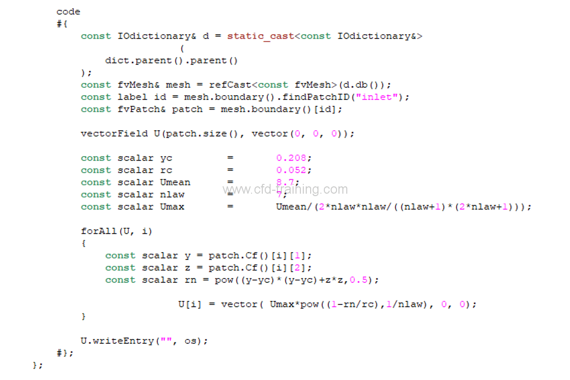 Non uniform inlet profil with codedFixedValue